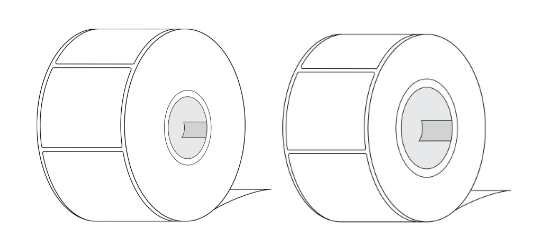 """Image of a 2"""" Core Label Roll and 3"""" Core Label Roll"""